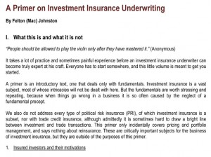 A Primer On Investment Insurance Underwriting
